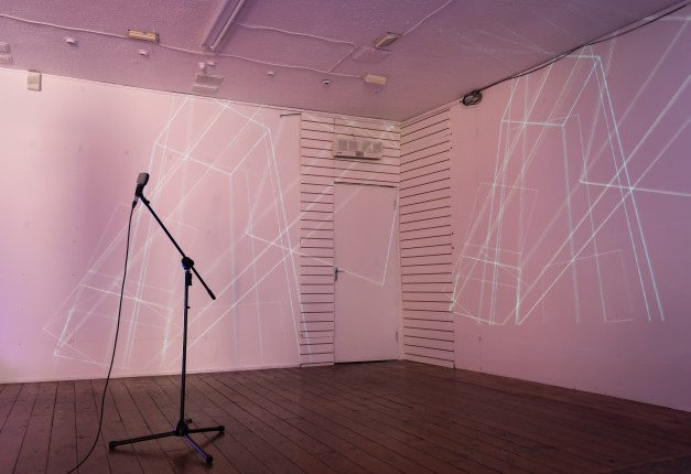 Installation view with mic